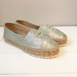 Etienne Aigner Metallic Mint Wide Sole Espadrille